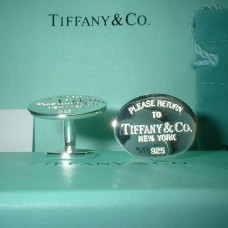 Oval curved tag cuff links